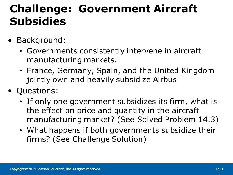 Challenge: Government Aircraft Subsidies