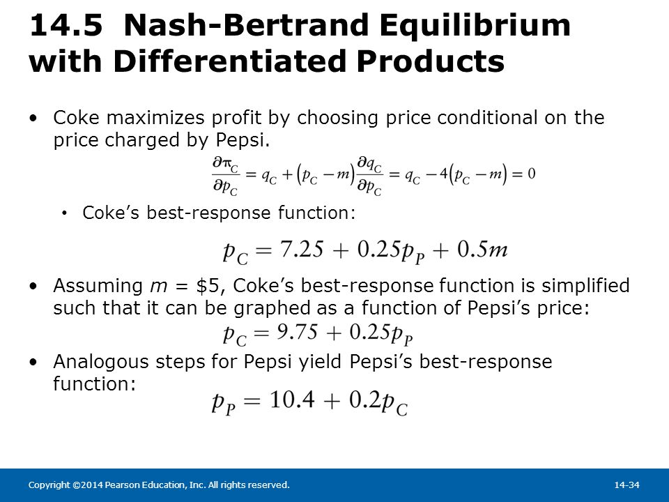 14.5 Nash-Bertrand Equilibrium with Differentiated Products