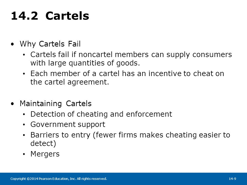 14.2 Cartels Why Cartels Fail Maintaining Cartels