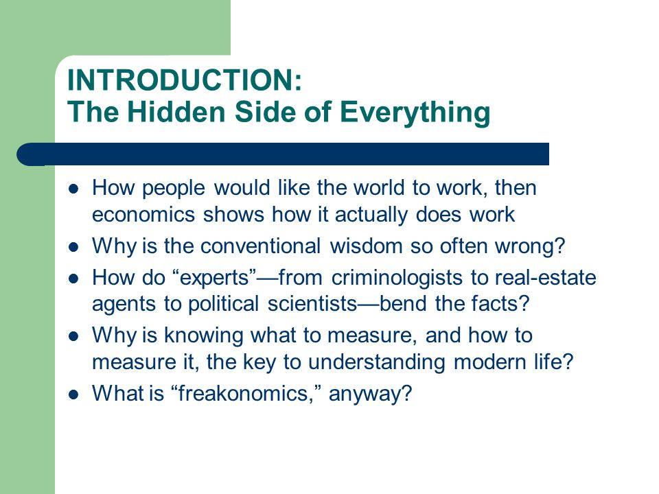 INTRODUCTION: The Hidden Side of Everything