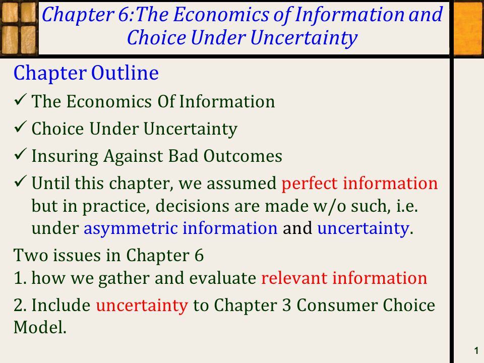 Chapter 6:The Economics of Information and Choice Under Uncertainty