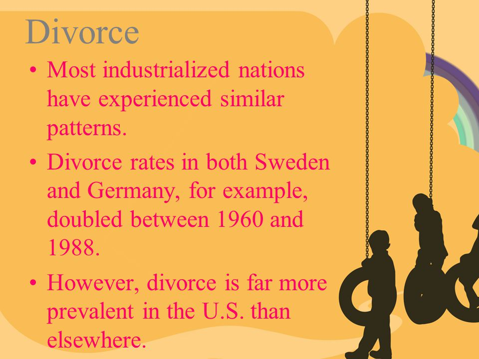Divorce Most industrialized nations have experienced similar patterns.