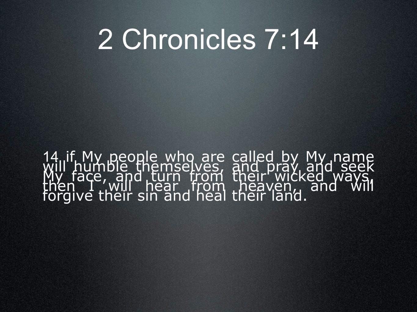 2 Chronicles 7:14