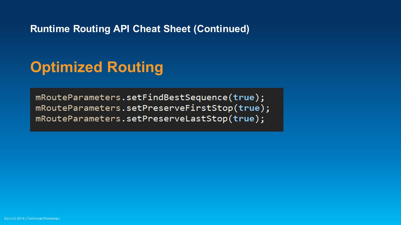 Runtime Routing API Cheat Sheet (Continued)