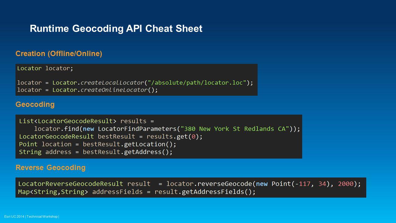 Runtime Geocoding API Cheat Sheet
