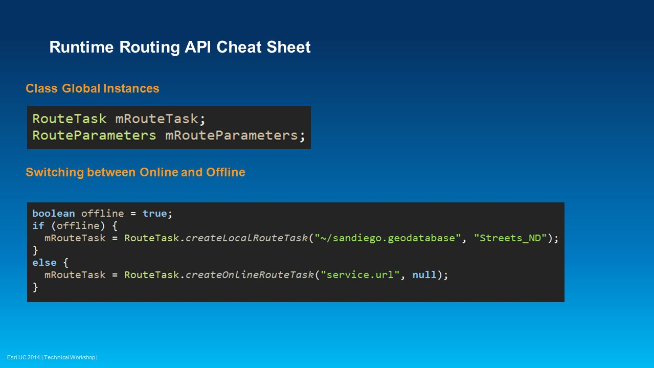 Runtime Routing API Cheat Sheet