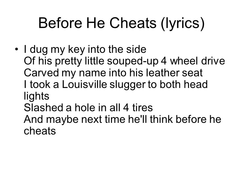 before he cheats