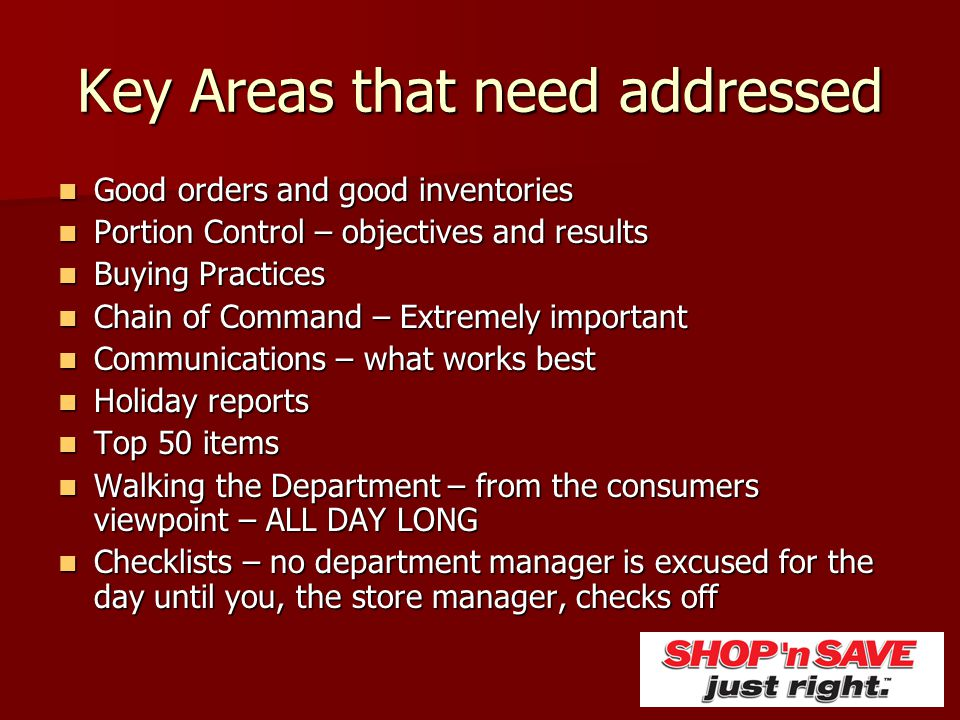 Key Areas that need addressed