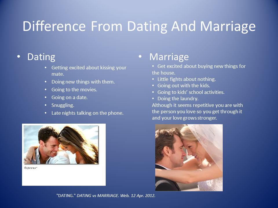 Difference From Dating And Marriage