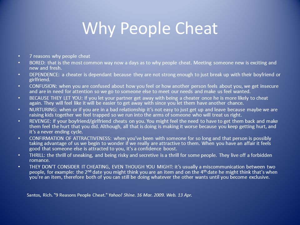 Why People Cheat 7 reasons why people cheat