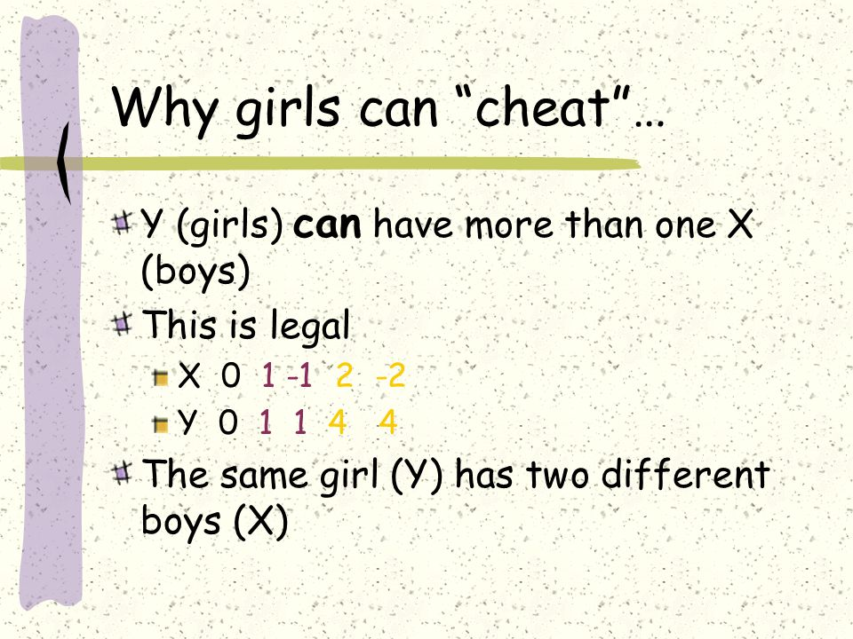 Why girls can cheat … Y (girls) can have more than one X (boys)
