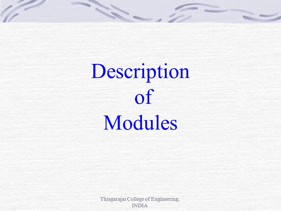 Description of Modules