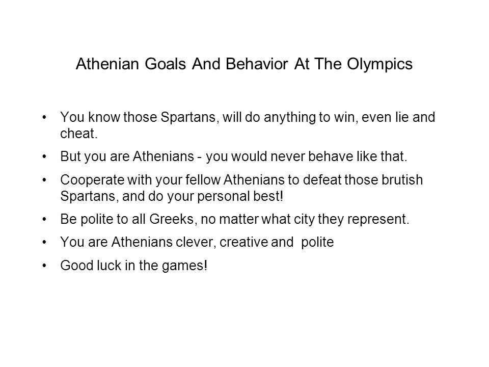 Athenian Goals And Behavior At The Olympics
