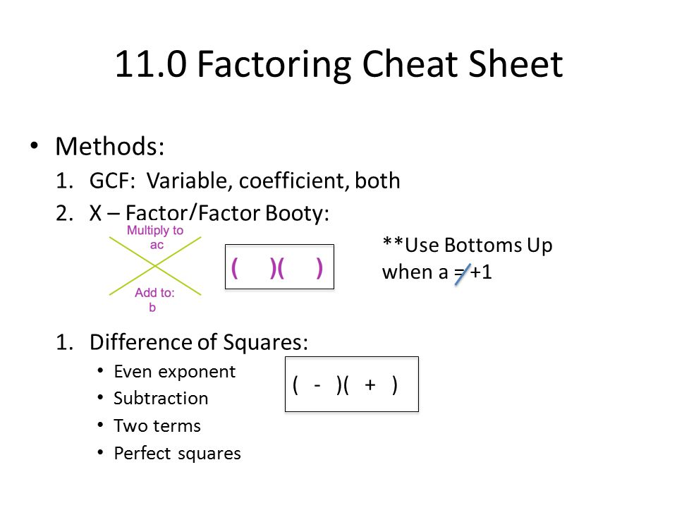 11.0 Factoring Cheat Sheet Methods: GCF: Variable, coefficient, both