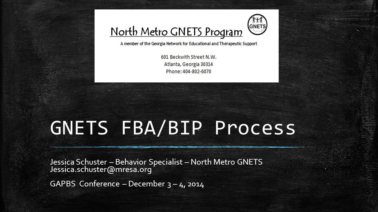 GNETS FBA/BIP Process Jessica Schuster – Behavior Specialist – North Metro GNETS. Jessica.schuster@mresa.org.