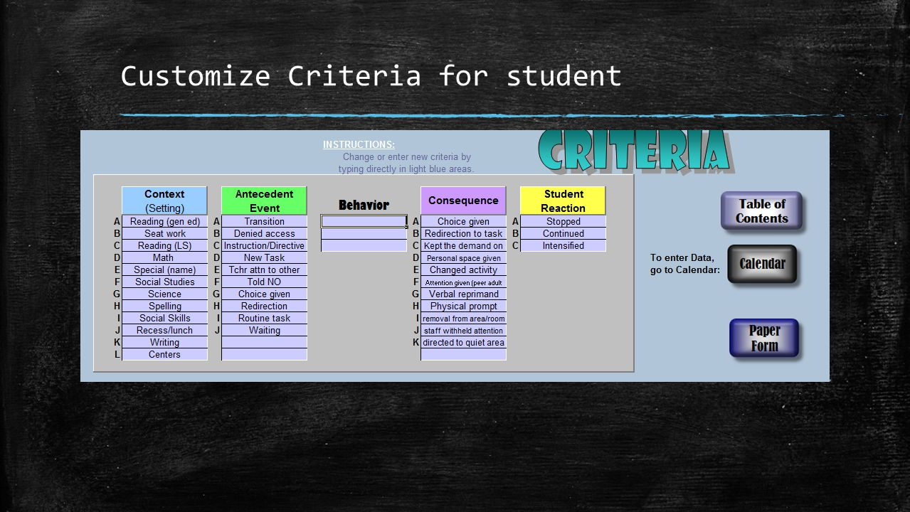 Customize Criteria for student