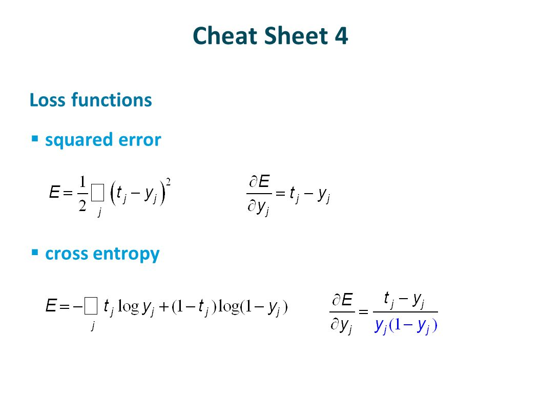 Cheat Sheet 4 Loss functions squared error cross entropy