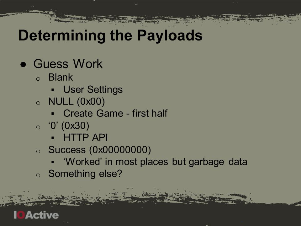 Determining the Payloads