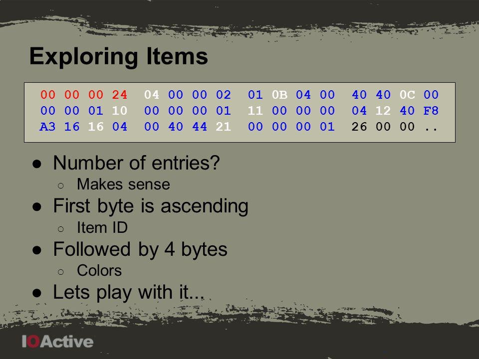 Exploring Items 00 00 00 00 21 00 00 00 01 Last bits: 00 01, 00 11, 01 11