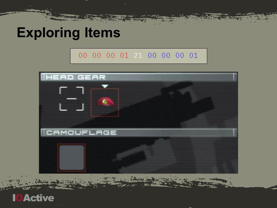 Exploring Items 00 00 00 01 21 00 00 00 03 Last bits: 00 01, 00 11, 01 11