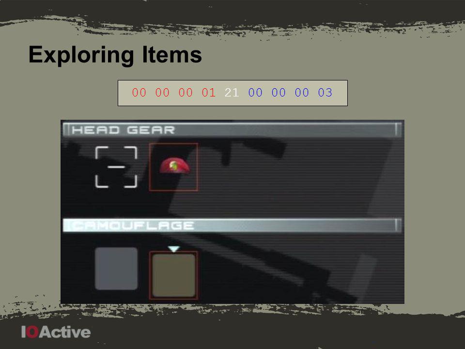 Exploring Items 00 00 00 01 21 00 00 00 07 Last bits: 00 01, 00 11, 01 11