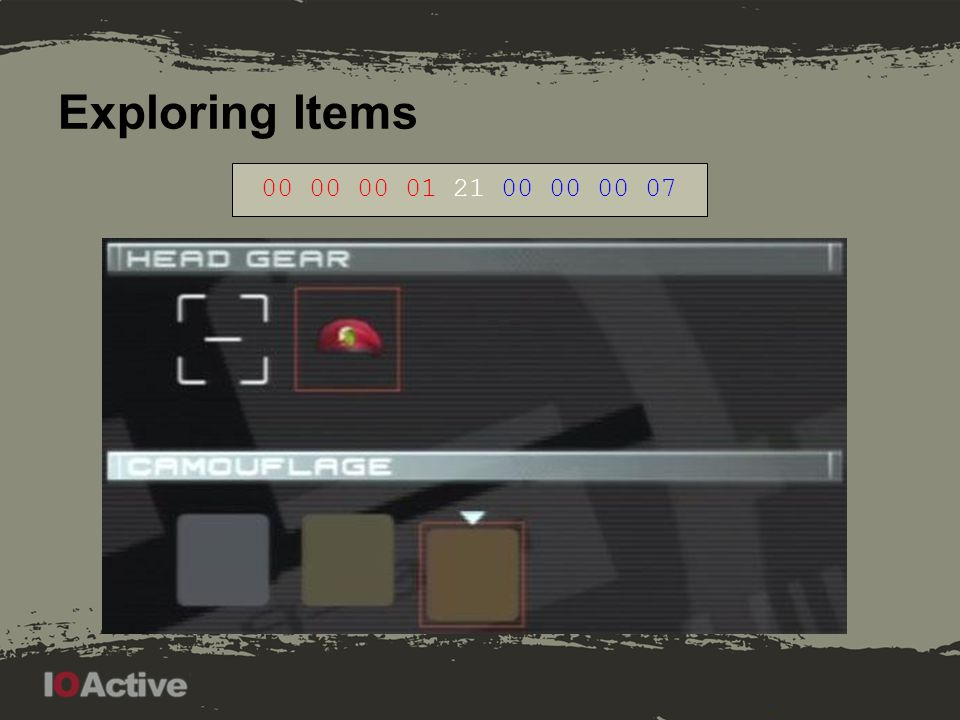 Exploring Items 00 00 00 00 21 00 00 00 01. Note first picture: jacket is a placeholder item, if no gear is present.