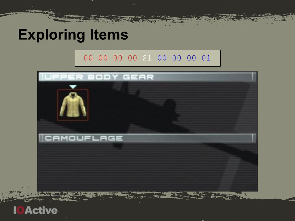 Exploring Items 00 00 00 01 21 00 00 00 07. Note first picture: jacket is a placeholder item, if no gear is present.