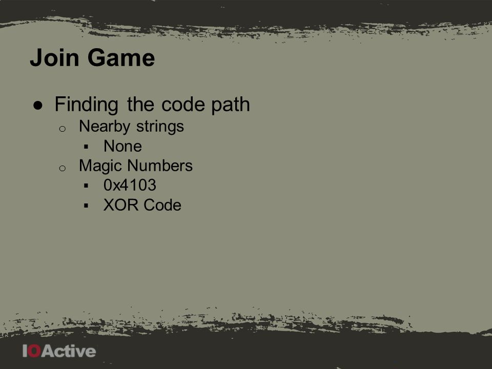 Join Game Found magic numbers, 0x4103 is the one that gives an error so follow it.