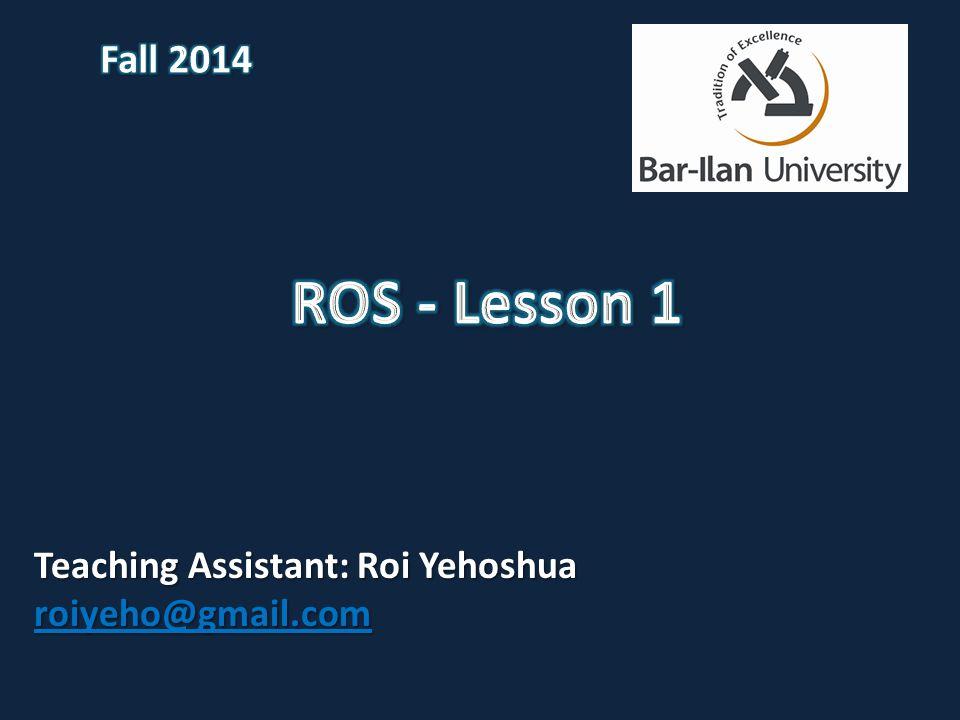Teaching Assistant: Roi Yehoshua roiyeho@gmail.com