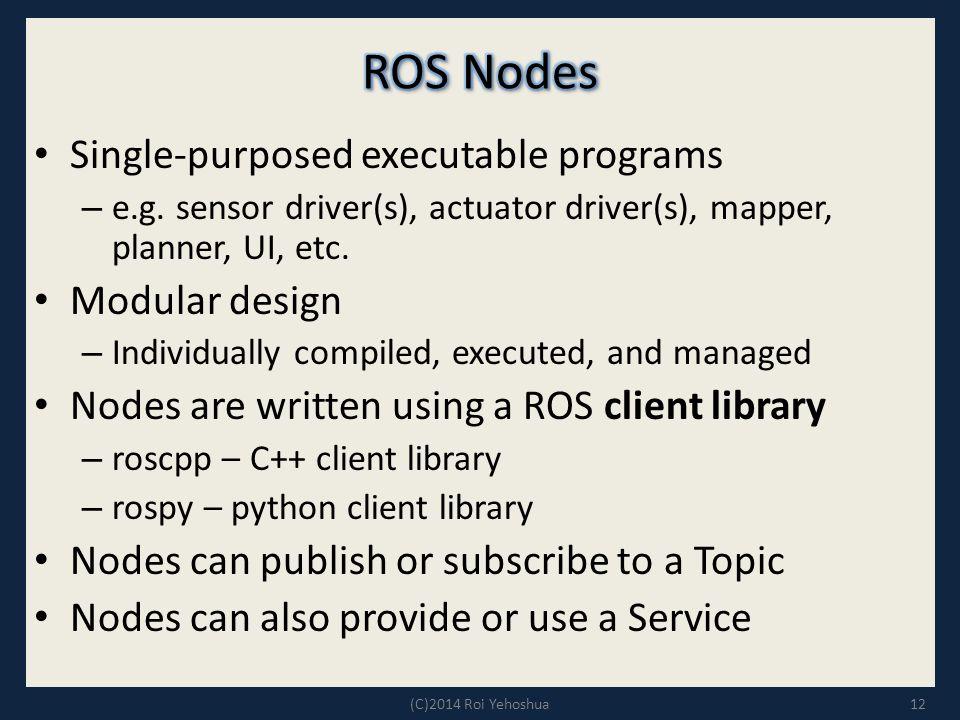 ROS Nodes Single-purposed executable programs Modular design