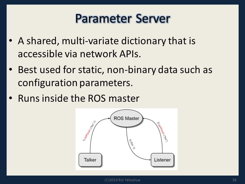 Parameter Server A shared, multi-variate dictionary that is accessible via network APIs.