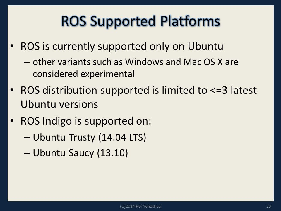 ROS Supported Platforms