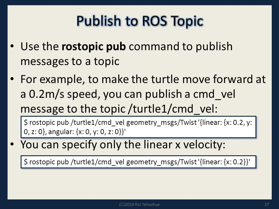 Publish to ROS Topic Use the rostopic pub command to publish messages to a topic.