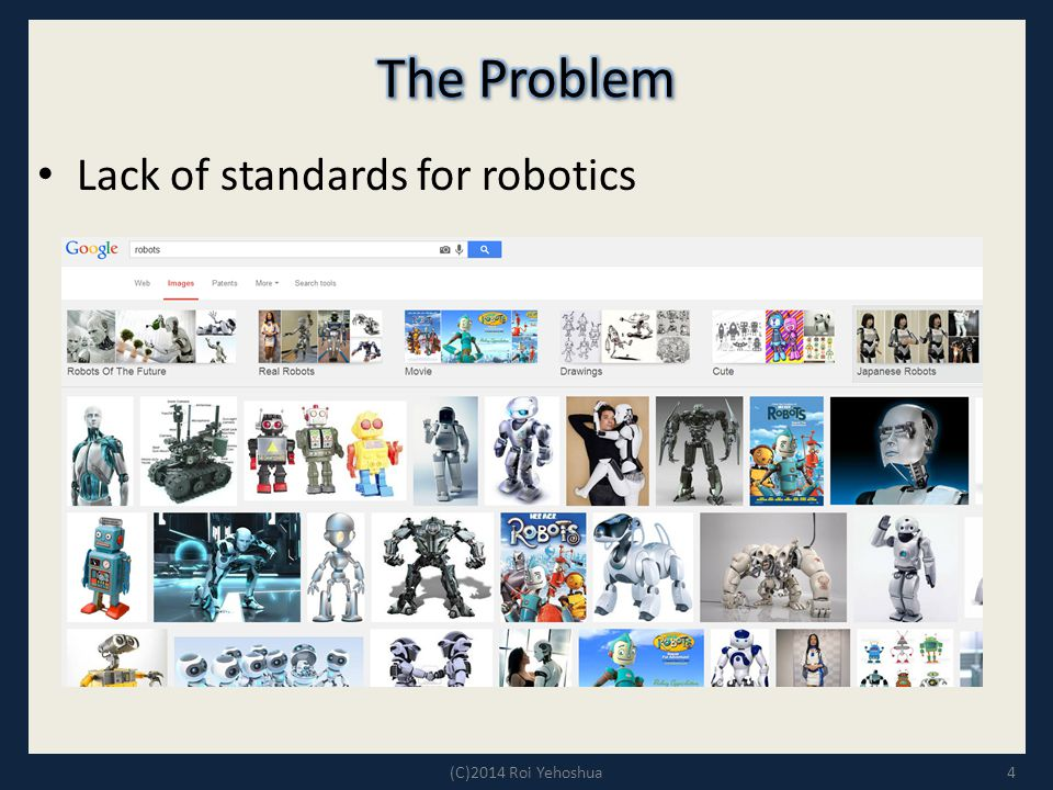 The Problem Lack of standards for robotics (C)2014 Roi Yehoshua