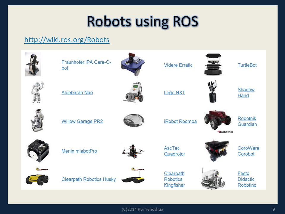 Robots using ROS http://wiki.ros.org/Robots (C)2014 Roi Yehoshua