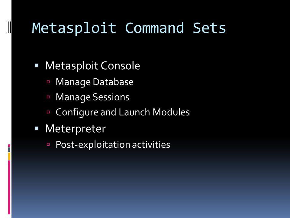 Metasploit Command Sets
