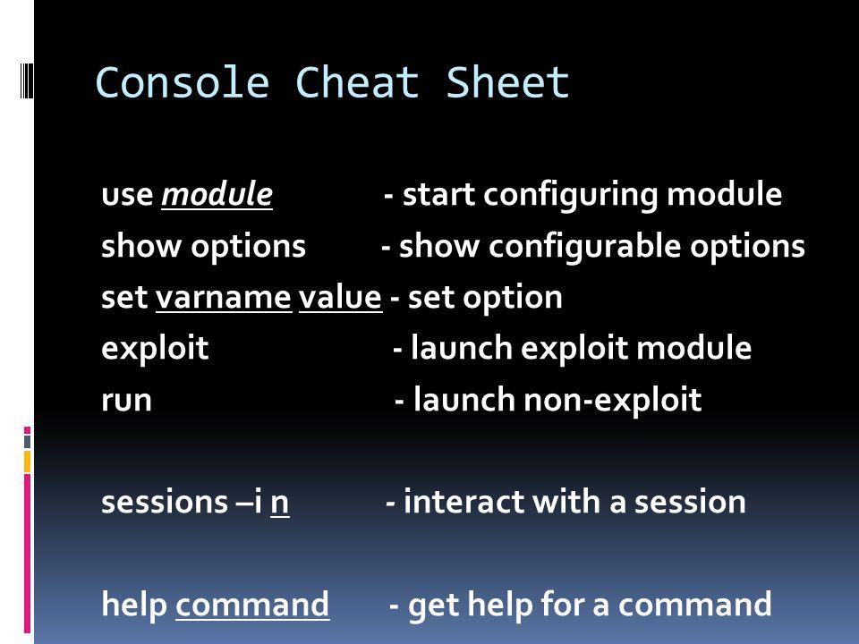 Console Cheat Sheet