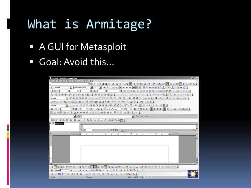 What is Armitage A GUI for Metasploit Goal: Avoid this…