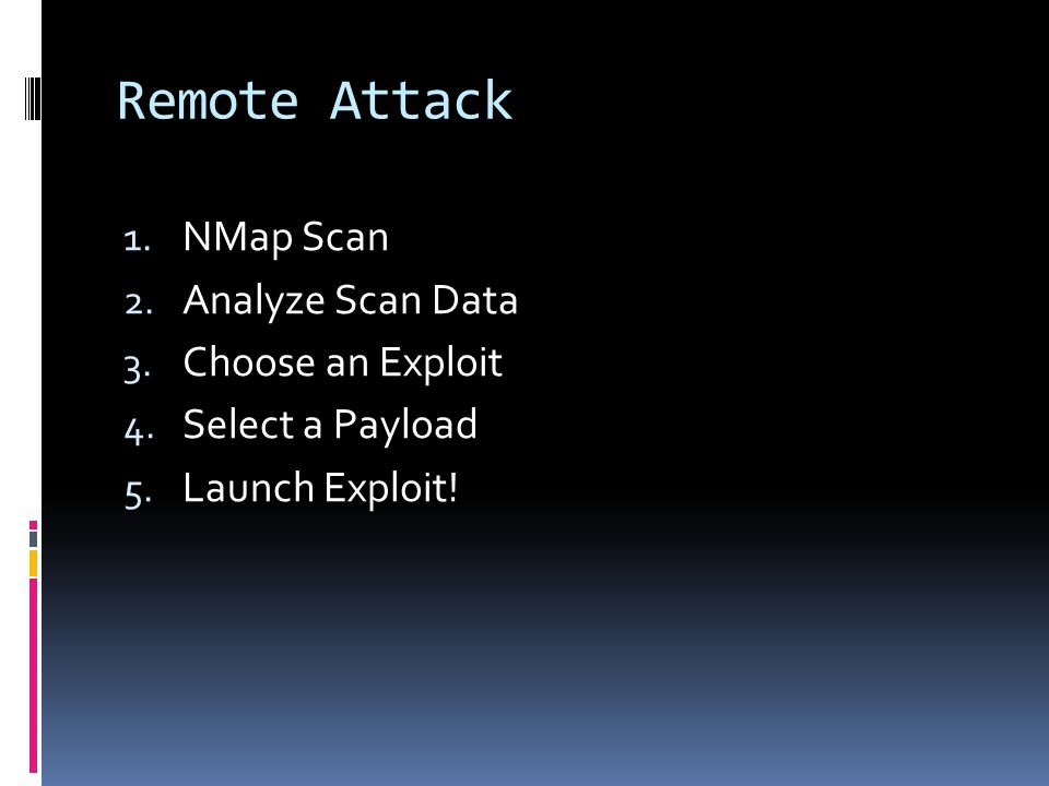 Remote Attack NMap Scan Analyze Scan Data Choose an Exploit