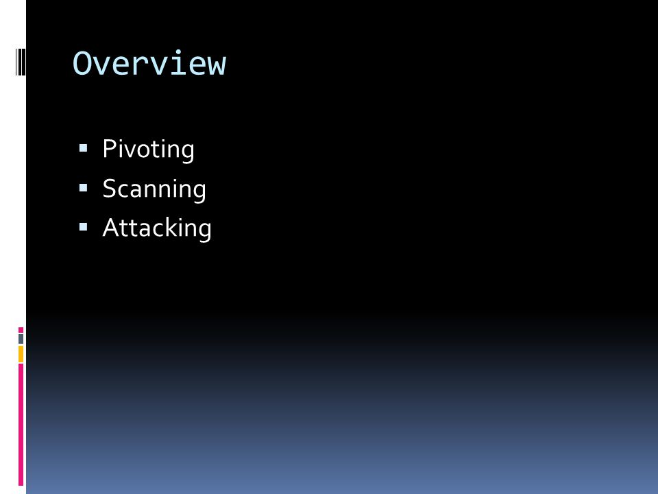 Overview Pivoting Scanning Attacking
