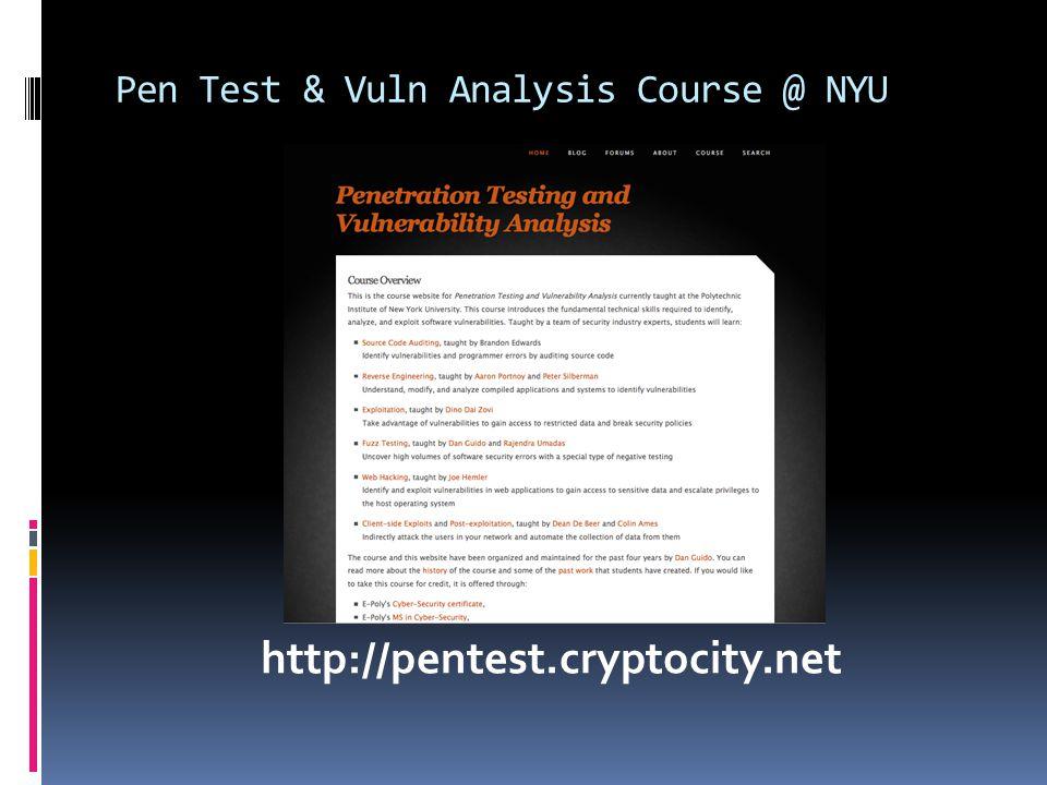 Pen Test & Vuln Analysis Course @ NYU