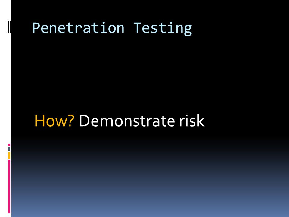 Penetration Testing How Demonstrate risk