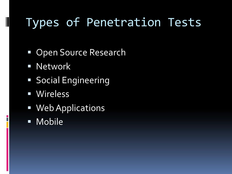 Types of Penetration Tests