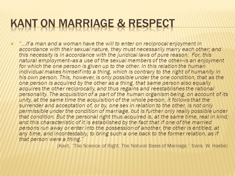 Kant on Marriage & Respect
