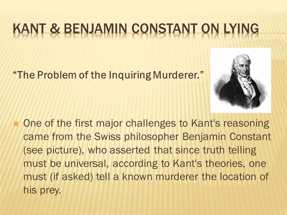 Kant & Benjamin Constant on lying