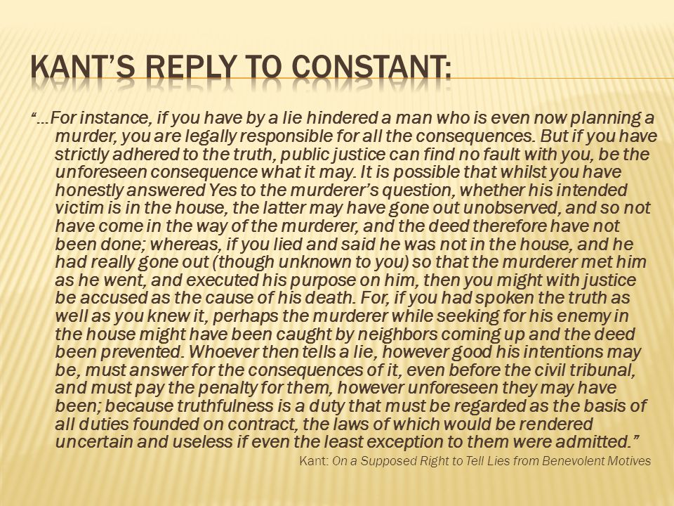 Kant's Reply to Constant: