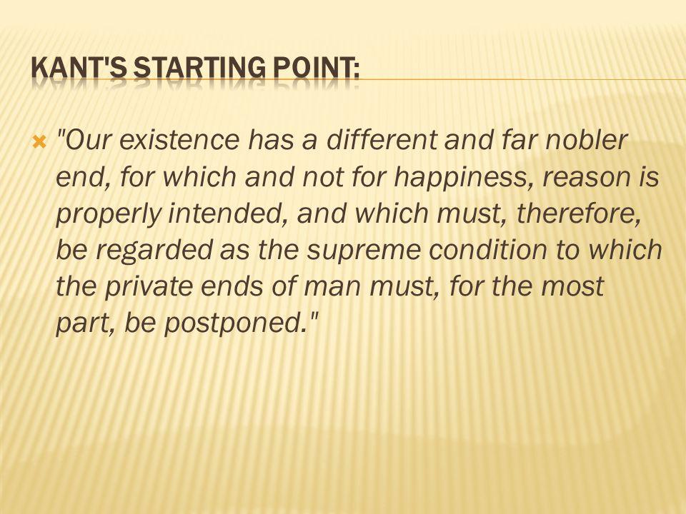 Kant s Starting point: