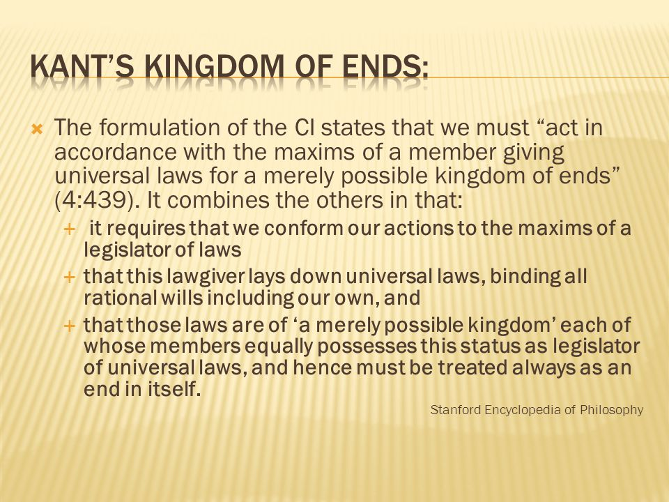 Kant's Kingdom of Ends:
