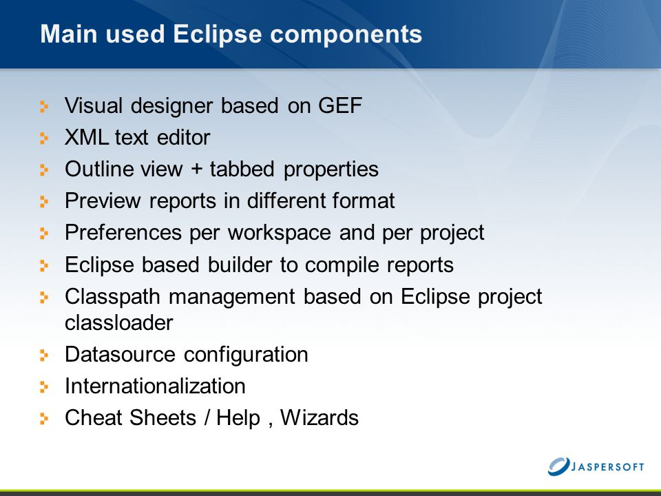 Main used Eclipse components
