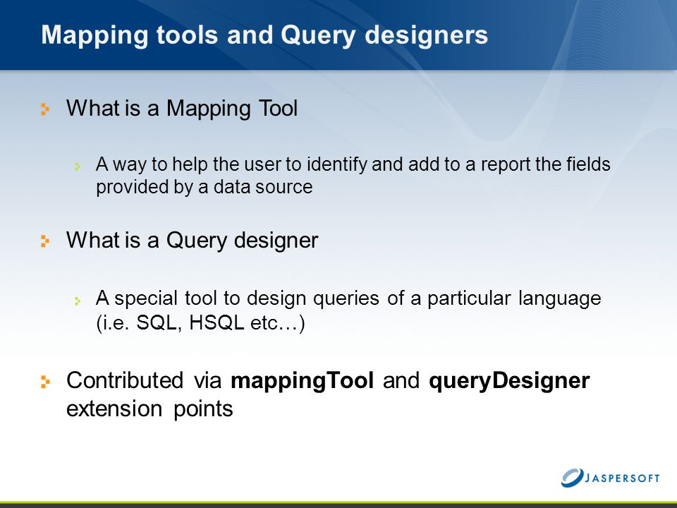 Mapping tools and Query designers